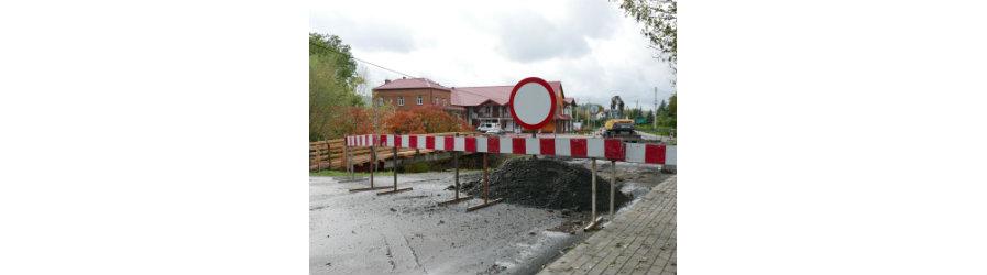Remont mostu w Rogach